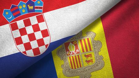 Croatia and Andorra two flags textile cloth, fabric texture Stock Photo