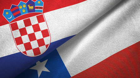 Croatia and Chile two flags textile cloth, fabric texture Stock Photo - 121999783