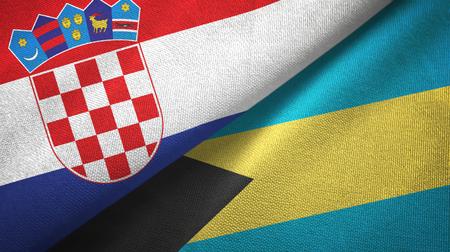 Croatia and Bahamas two flags textile cloth, fabric texture