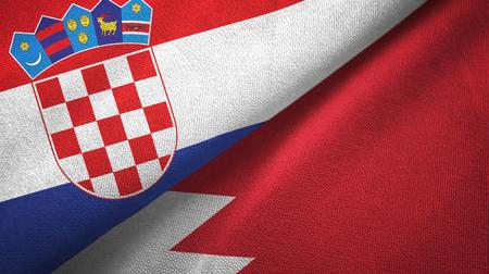 Croatia and Bahrain two flags textile cloth, fabric texture
