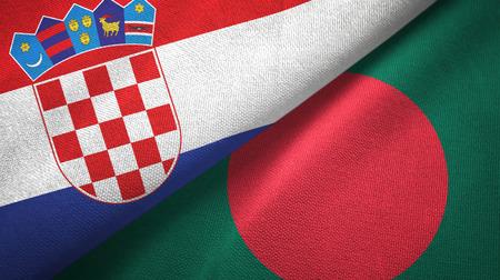 Croatia and Bangladesh two flags textile cloth, fabric texture Stock Photo