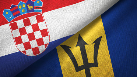Croatia and Barbados two flags textile cloth, fabric texture Stock Photo - 122000093