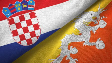 Croatia and Bhutan two flags textile cloth, fabric texture Stock Photo