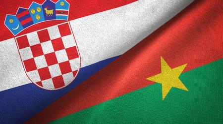 Croatia and Burkina Faso two flags textile cloth, fabric texture