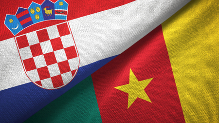 Croatia and Cameroon two flags textile cloth, fabric texture Stock Photo