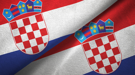 Croatia two flags textile cloth, fabric texture Stock Photo