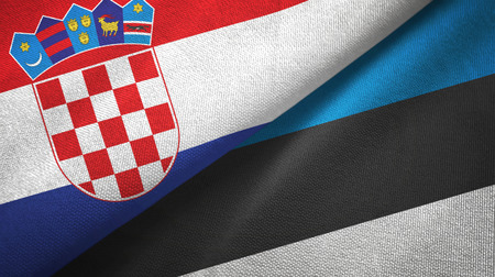 Croatia and Estonia flags together textile cloth, fabric texture Stock Photo