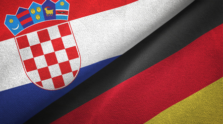 Croatia and Germany flags together textile cloth, fabric texture Фото со стока