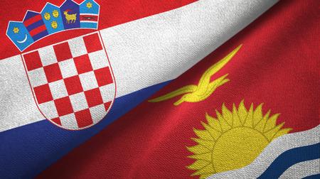 Croatia and Kiribati two folded flags together