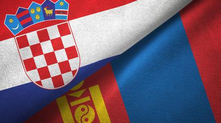Croatia and Mongolia two folded flags together
