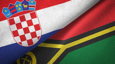 Croatia and Vanuatu two flags textile cloth, fabric texture Stock Photo - 122000321