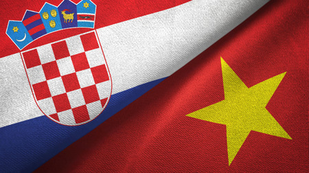Croatia and Vietnam two flags textile cloth, fabric texture