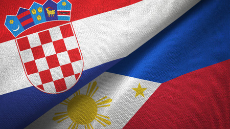 Croatia and Philippines two flags textile cloth, fabric texture