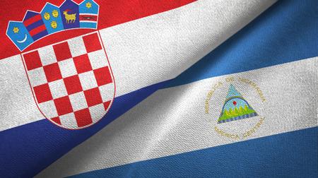 Croatia and Nicaragua two folded flags together