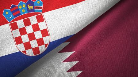 Croatia and Qatar flags together textile cloth, fabric texture Stock Photo - 121955241
