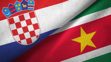 Croatia and Suriname two folded flags together Standard-Bild