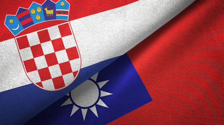 Croatia and Taiwan two folded flags together