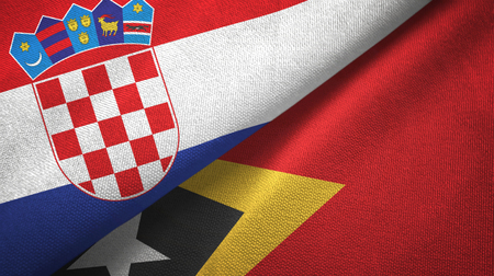 Croatia and Timor-Leste East Timor two flags textile cloth, fabric texture Stock Photo