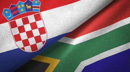 Croatia and South Africa two flags textile cloth, fabric texture
