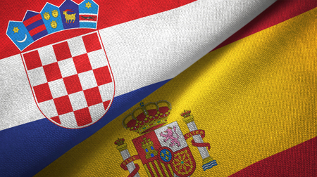Croatia and Spain two flags textile cloth, fabric texture Stock Photo