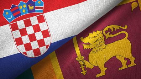 Croatia and Sri Lanka two flags textile cloth, fabric texture