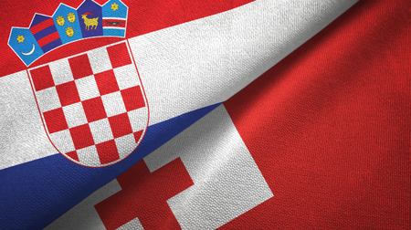 Croatia and Tonga two flags textile cloth, fabric texture Stock Photo - 122000494
