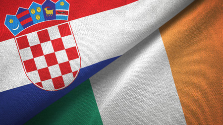 Croatia and Ireland two flags textile cloth, fabric texture