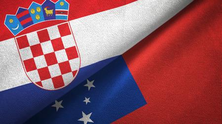 Croatia and Samoa two folded flags together Stock Photo - 121955351