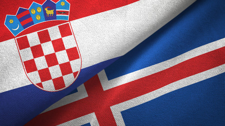Croatia and Iceland flags together textile cloth, fabric texture Stock Photo