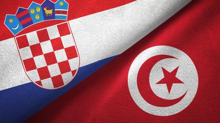 Croatia and Tunisia flags together textile cloth, fabric texture