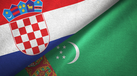 Croatia and Turkmenistan flags together textile cloth, fabric texture Stock Photo - 121955463