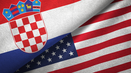Croatia and United States flags together textile cloth, fabric texture Stock Photo