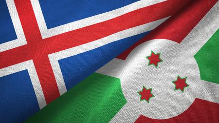 Iceland and Burundi two folded flags together