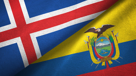 Iceland and Ecuador two folded flags together