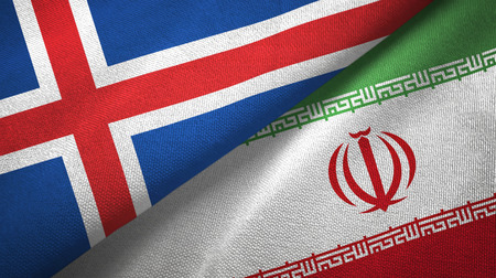 Iceland and Iran flags together textile cloth, fabric texture
