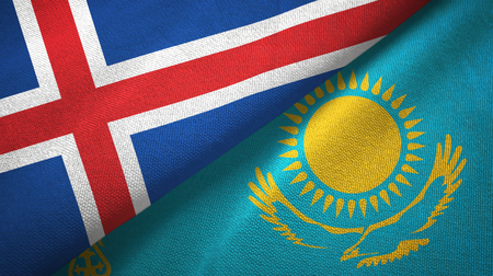 Iceland and Kazakhstan flags together textile cloth, fabric texture Stok Fotoğraf