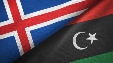 Iceland and Libya flags together textile cloth, fabric texture Archivio Fotografico