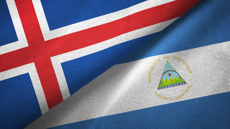 Iceland and Nicaragua two folded flags together