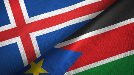 Iceland and South Sudan two folded flags together Archivio Fotografico