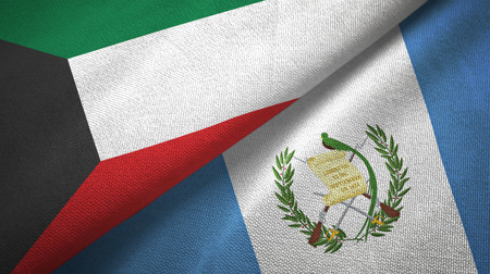 Kuwait and Guatemala flags together textile cloth, fabric texture Stock Photo