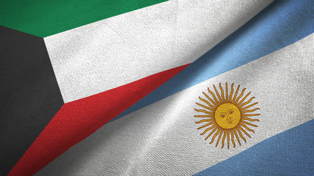 Kuwait and Argentina flags together textile cloth, fabric texture