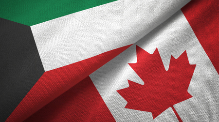 Kuwait and Canada two flags textile cloth, fabric texture