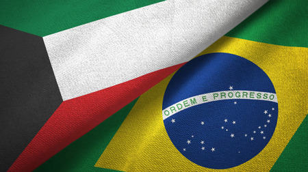 Kuwait and Brazil two flags textile cloth, fabric texture
