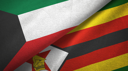 Kuwait and Zimbabwe flags together textile cloth, fabric texture