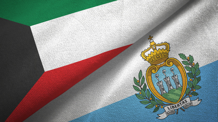 Kuwait and San Marino two folded flags together