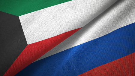 Kuwait and Russia flags together textile cloth, fabric texture