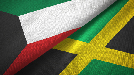 Kuwait and Jamaica flags together textile cloth, fabric texture