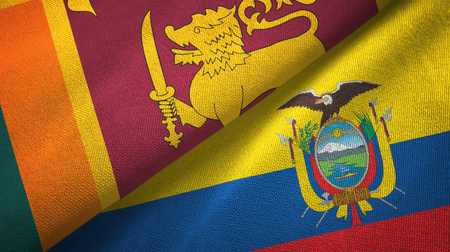 Sri Lanka and Ecuador two flags textile cloth, fabric texture
