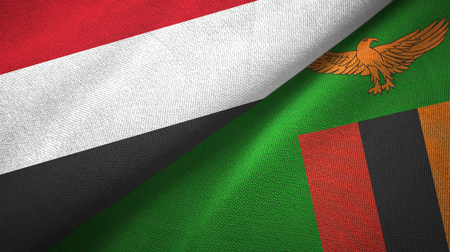 Yemen and Zambia two flags textile cloth, fabric texture