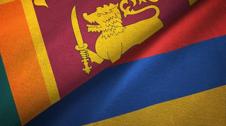 Sri Lanka and Armenia two flags textile cloth, fabric texture Stock Photo